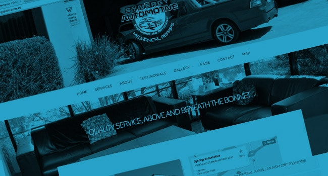 Mobile friendly web design for Synergy Automotive, Morisset NSW